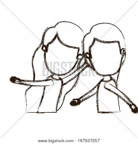 blurred thick silhouette caricature faceless side view half body couple children dancing vector illustration