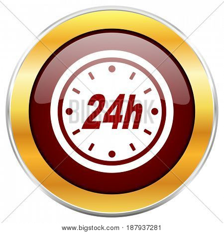 24h red web icon with golden border isolated on white background. Round glossy button.