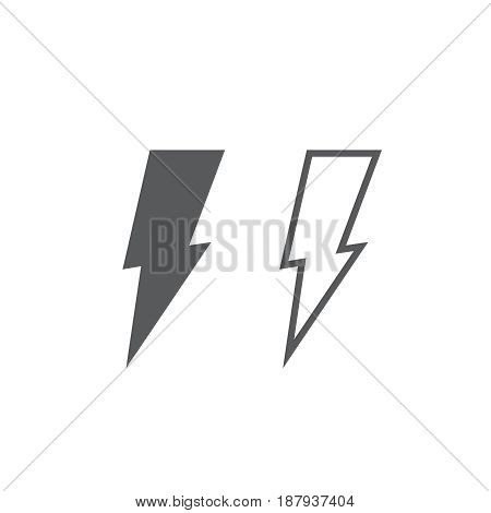 Lightning icon. solid and outline isolated on white