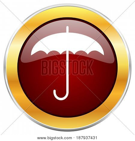 Umbrella red web icon with golden border isolated on white background. Round glossy button.