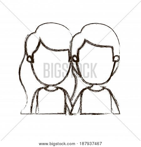 blurred thick silhouette caricature faceless front view half body couple children vector illustration