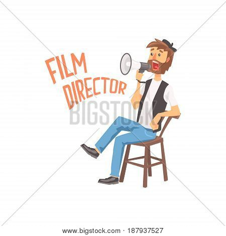 Film director sitting in his chair speaking into a megaphone, cartoon character vector Illustration isolated on a white background