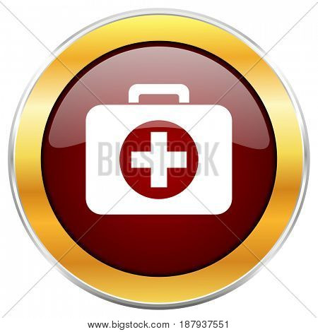 First aid red web icon with golden border isolated on white background. Round glossy button.