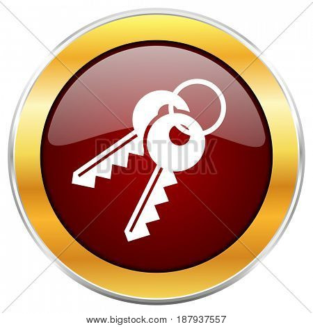 Keys red web icon with golden border isolated on white background. Round glossy button.