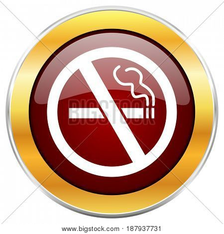 No smoking red web icon with golden border isolated on white background. Round glossy button.