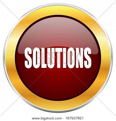 Solutions red web icon with golden border isolated on white background. Round glossy button.