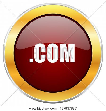 Com red web icon with golden border isolated on white background. Round glossy button.