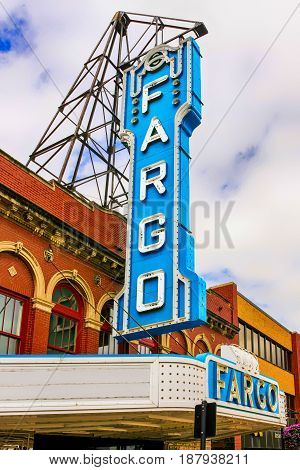 Fargo, ND, USA - 07/24/2015: The famous Fargo theater overhead sign on N. Broadway Dr in downtown Fargo North Dakota
