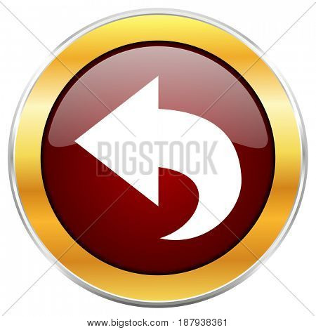 Back red web icon with golden border isolated on white background. Round glossy button.