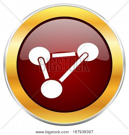 Chemistry red web icon with golden border isolated on white background. Round glossy button.