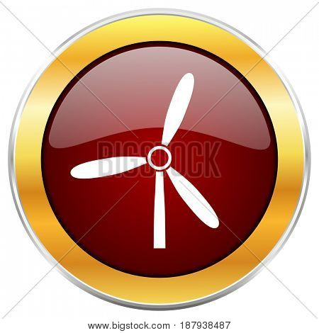Windmill red web icon with golden border isolated on white background. Round glossy button.