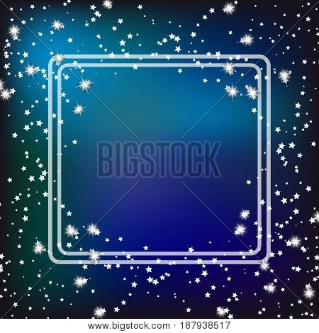 Blue background with border and stars. Illustration.