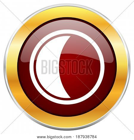 Moon red web icon with golden border isolated on white background. Round glossy button.