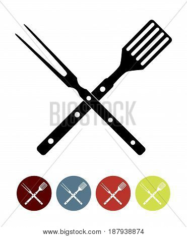 BBQ Icon with Grill Tools. Vector Illustration EPS10