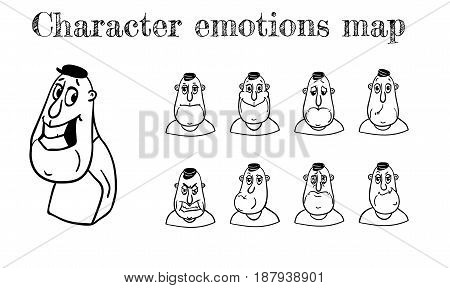 Map of emotions. Several facial expression and concept of person in three quarters view. Vector illustration isolated on white background.