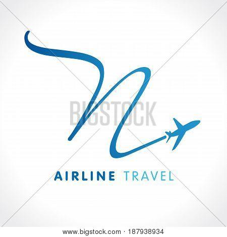 N letter travel company logo. Airline business identy travel logo design with emblem