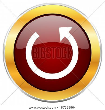 Rotate red web icon with golden border isolated on white background. Round glossy button.