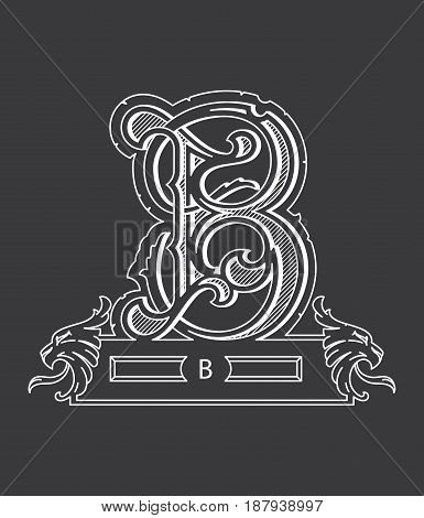 Vector illustration about white on black alphabet letter B