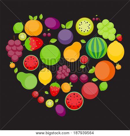 Apple, Orange, Plum, Cherry, Lemon, Lime, Watermelon, Strawberries, Kiwi, Peaches, Grapes and Pear in Foarm of Heart. Love Fruits Concept. Vector Illustration. EPS10