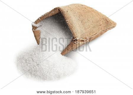 Sugar in sackcloth bag on white background