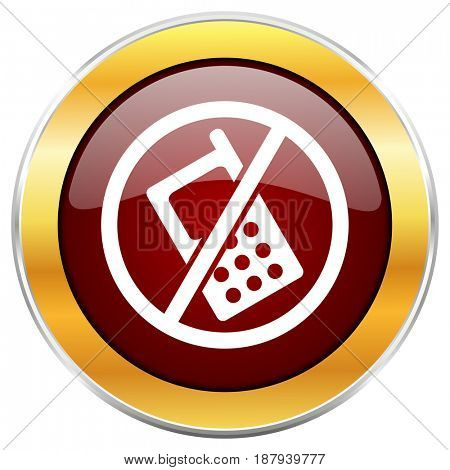 No phone red web icon with golden border isolated on white background. Round glossy button.