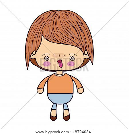 colorful silhouette of kawaii little boy with facial expression furious vector illustration