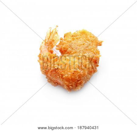 Delicious coconut shrimp on white background