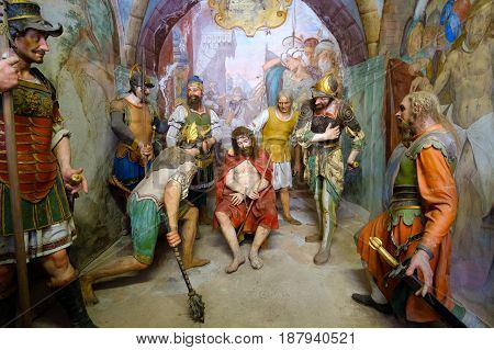 Varallo Italy May 24 2017 - biblical scene representation of Jesus Christ crowned with thorns and scourging during his flagellation