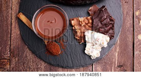 Melting Chocolate And Diffrent Bars - Stack And Chips With Chocolate Swirl/ Powder And Cocoa Pod Wit