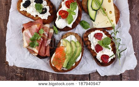 Bread Brushetta Or Authentic Traditional Spanish Tapas Set For Lunch Table. Sharing Antipasti On Par