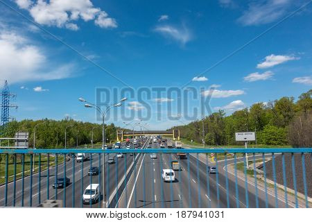 MOSCOW, RUSSIA - May 24, 2017: Moscow road traffic. View of the Moscow Ring Road