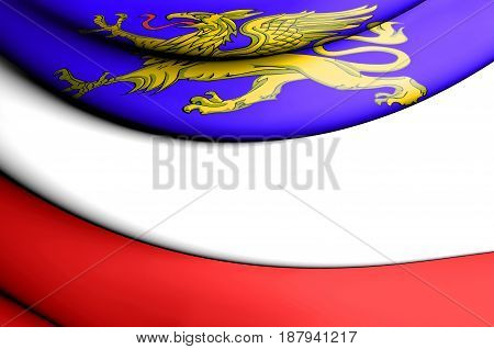 3D Flag Of Rostock, Germany.