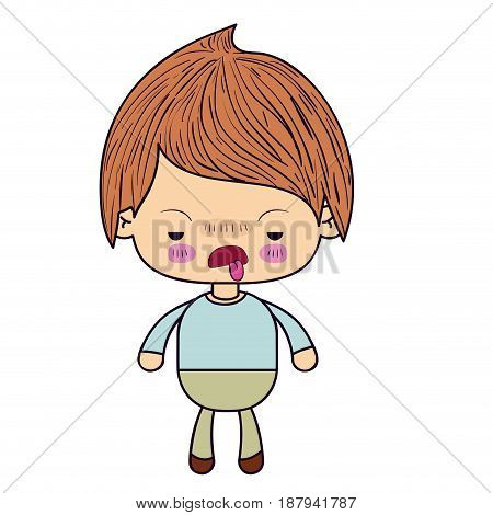 colorful silhouette of kawaii little boy with unpleasant facial expression vector illustration