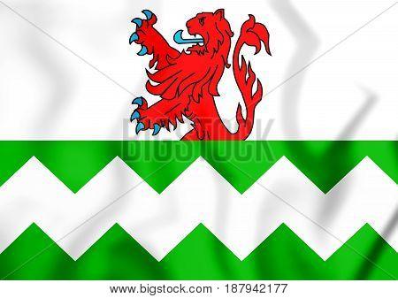 3D Flag Of Westland (south Holland), Netherlands.