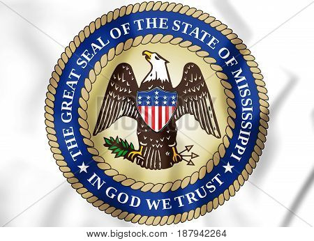 3D State Seal Of The Mississippi, Usa.