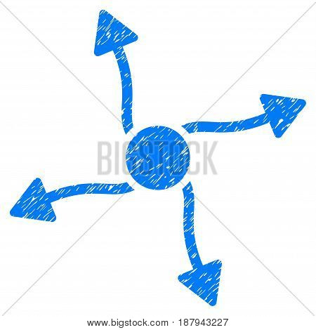 Grunge Curve Arrows icon with grunge design and dirty texture. Unclean vector blue pictogram for rubber seal stamp imitations and watermarks. Draft sign symbol.