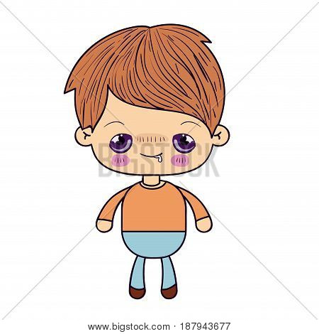 colorful silhouette of kawaii little boy with embarrassed facial expression vector illustration