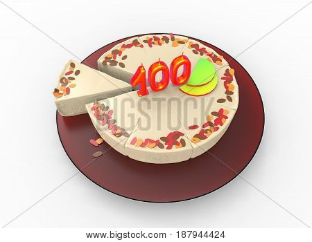 3d illustration of cake with 100 on top. white background isolated. icon for game web.