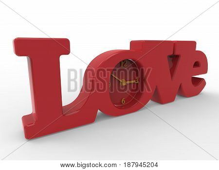 3d illustration of love clock. white background isolated. icon for game web.