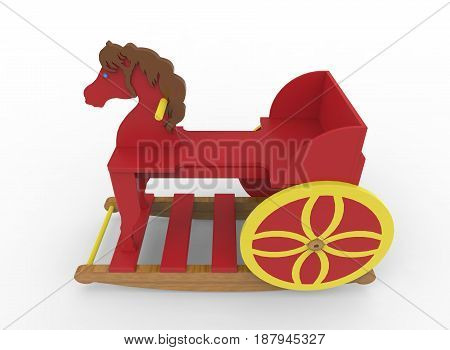 3d illustration of toy horse. white background isolated. icon for game web.