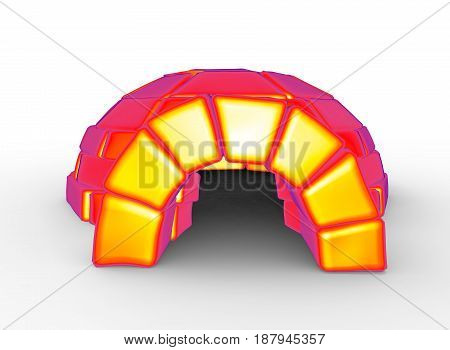 3d illustration of igloo. white background isolated. icon for game web.