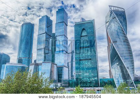 View on Moscow international business center at summer day Russia
