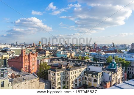 Aerial roof view in historical center of Moscow Russia