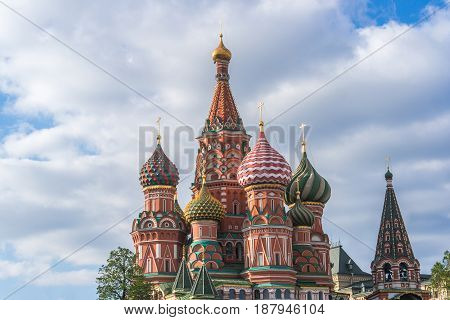 St. Basil's Cathedral view in Moscow Russia
