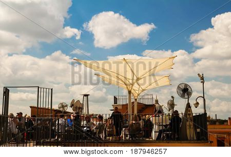 Rome, Italy-April 04, 2017:The terrace of Italian coctail bar Il Palazetto located near Trinita dei Monti church , Rome, Italy.