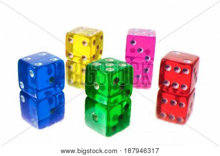 Stacks of Color Dice on White Background