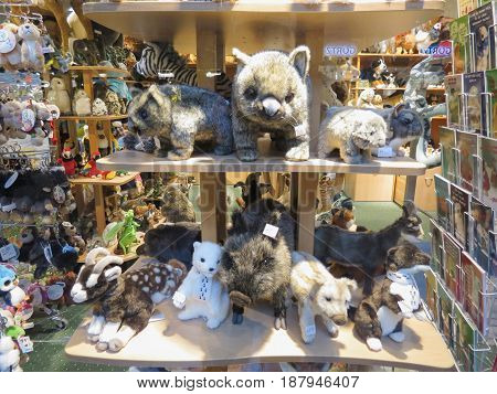 Plush Toys Store With Plush Animals On Display In Hamburg