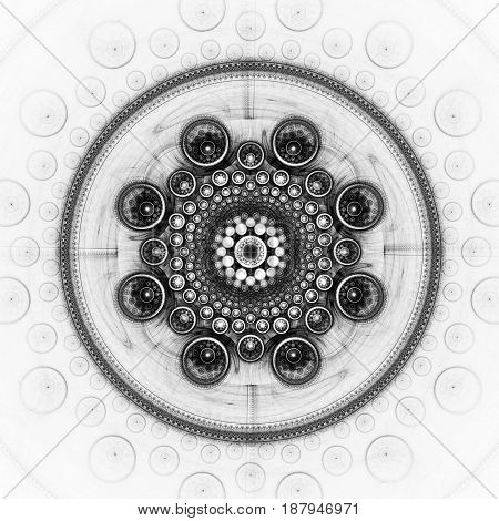 Spheres in the circle. Cabalistic sign. 3D surreal illustration. Sacred geometry. Mysterious psychedelic relaxation pattern. Fractal abstract texture. Digital artwork graphic astrology magic