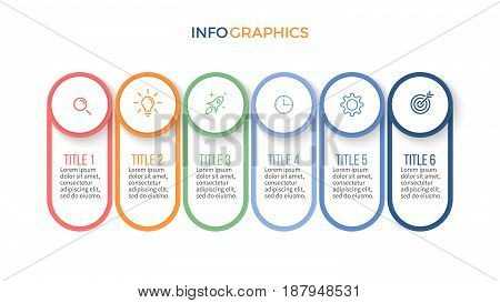 Business infographics. Timeline with 6 steps, options. Vector template.