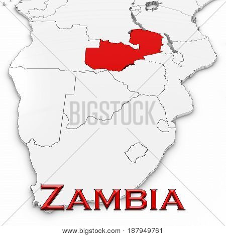 3D Map Of Zambia With Country Name Highlighted Red On White Background 3D Illustration